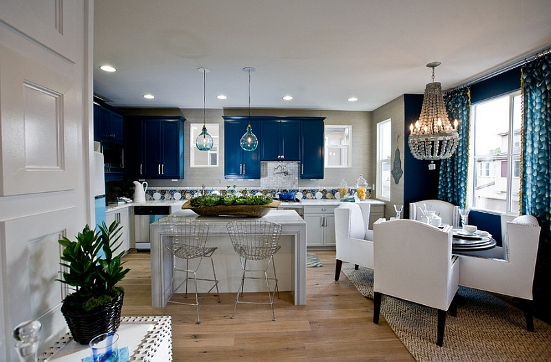View In Gallery Classy Blue And White Kitchen And Dining Space