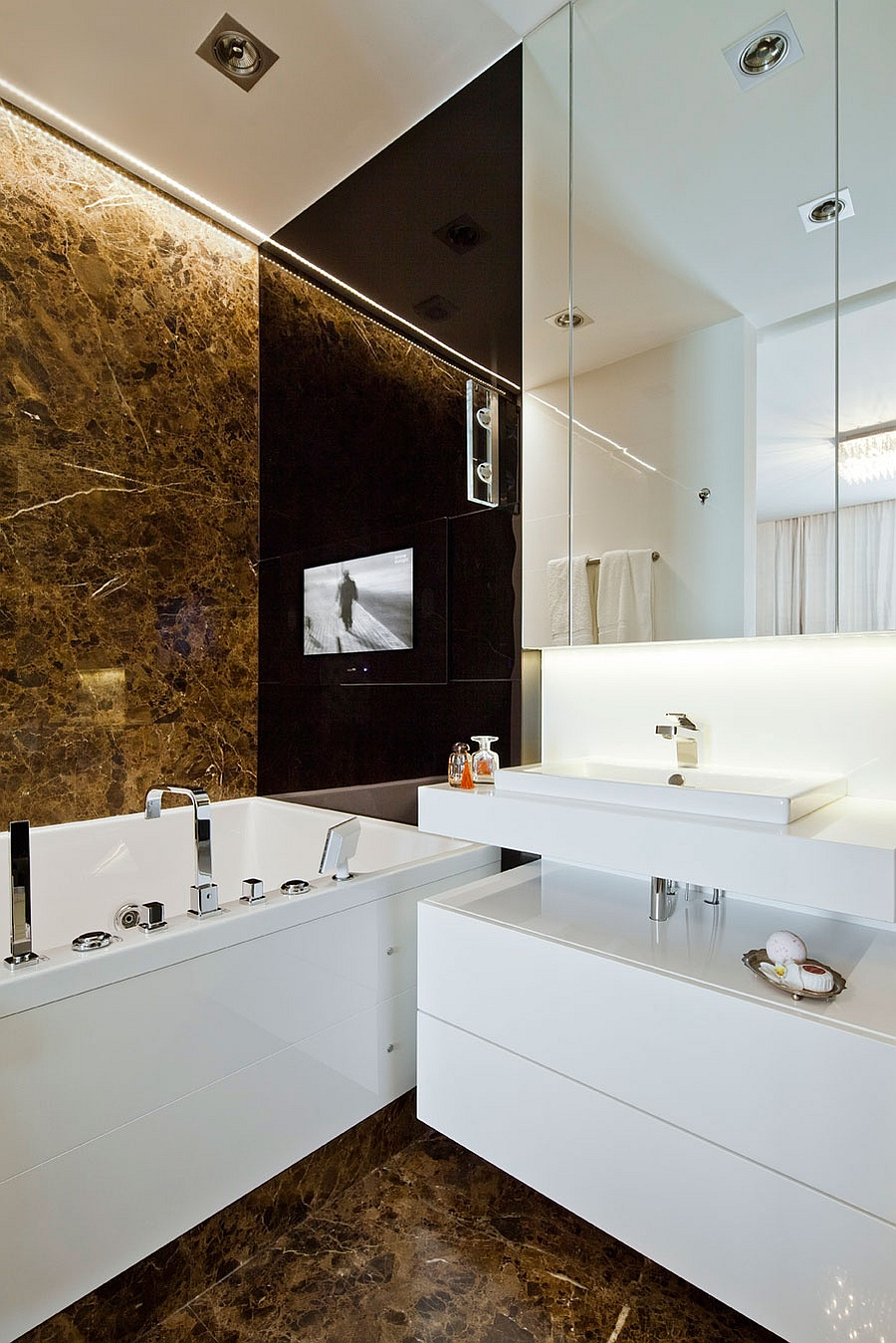 Contemporary bath with a touch of golden charm