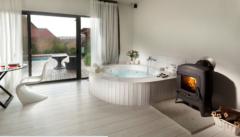 View In Gallery Contemporary Bathroom With A Lovely Hot Tub