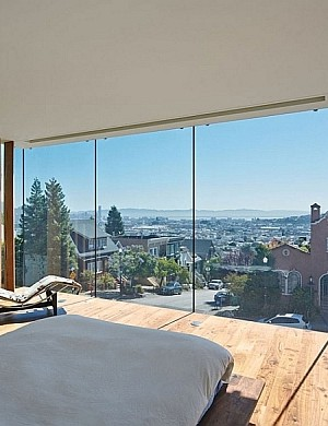 Contemporary bedroom with views of San Francisco City