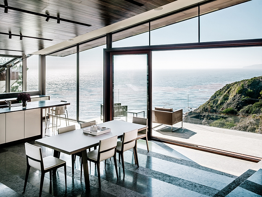 Contemporary kitchen and dining area overlooking the Pacific Ocean