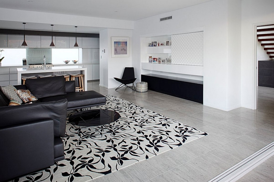 Contemporary living room in black and white