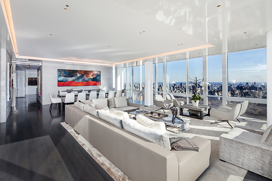 Contemporary living room with views of Lond Island and Statue of Liberty in the distance