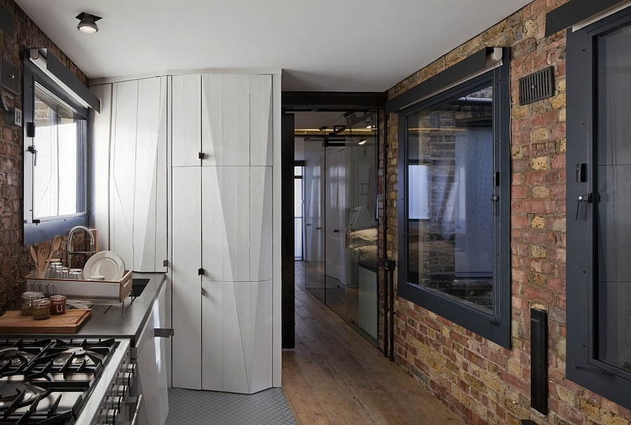 Contemporary shelves and storage units coupled with brick walls