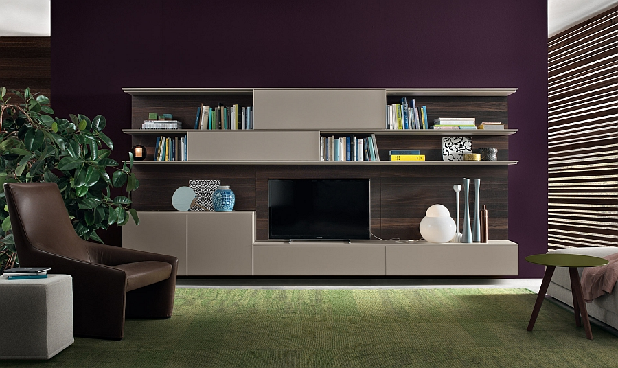 Contemporary wall unit system with space for TV, bookshelves and storage