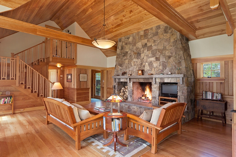 Cozy cabin retreat combines warmth of wood with a bright open interior - Cool log home interior designs guide ...