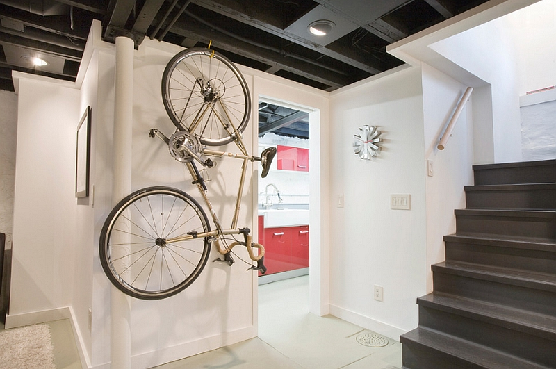 Cool bike rack in the industrial style basement