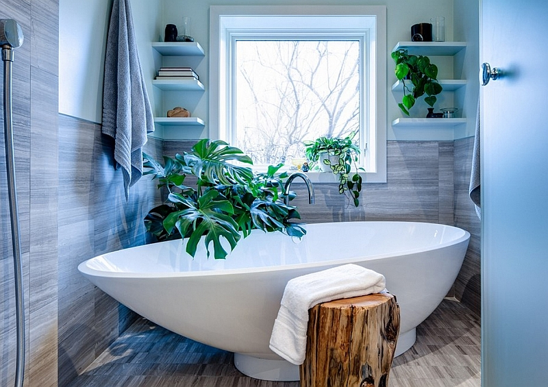 Corner shelves in the contemporary bath