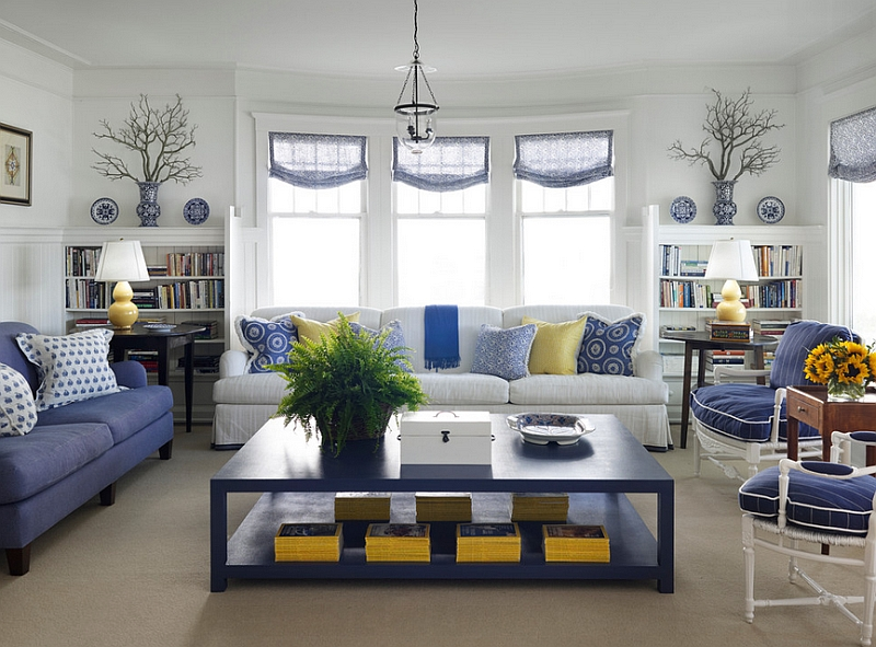 Cottage style living room in blue and white with pops of yellow