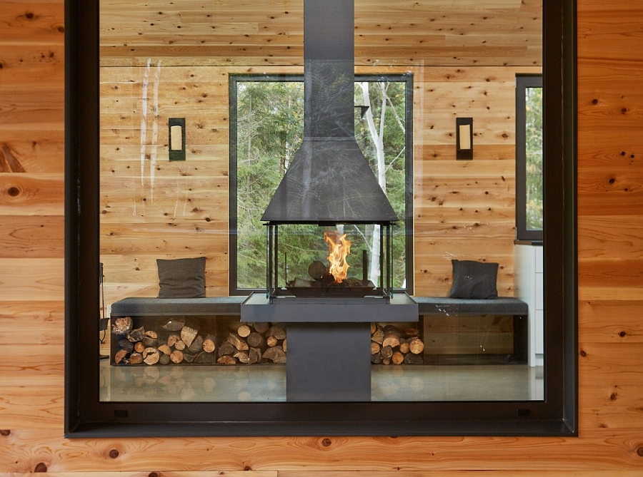 Cozy sitting nook next to the fireplace