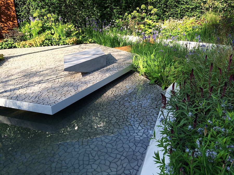 Cracked Earth Concrete Floor Tile debuts at RBC Waterscape Garden Cracked Earth Concrete Tiles Debut In Style At The RHS Chelsea Flower Show 2014