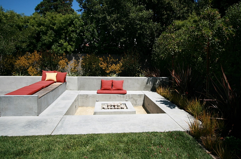 Create a cool conversation pit outdoors with sunken spaces
