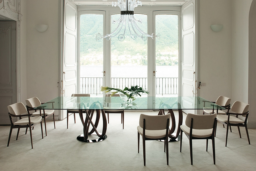 Creative dining table designs in solid walnut and glass