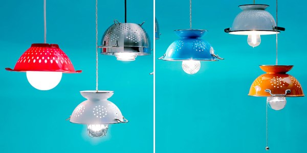 DIY colander pendant lighting