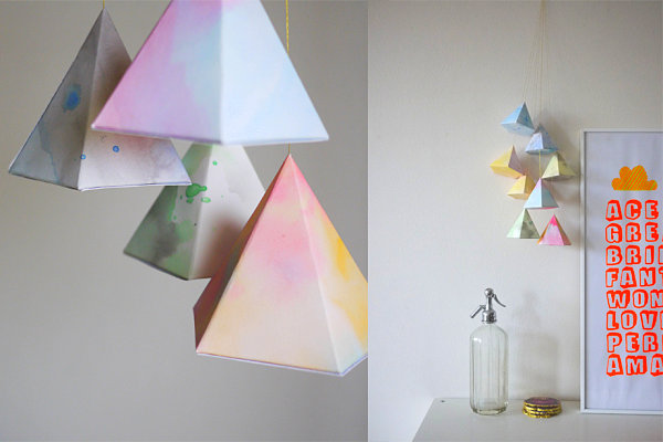 DIY hanging geometric paper shapes