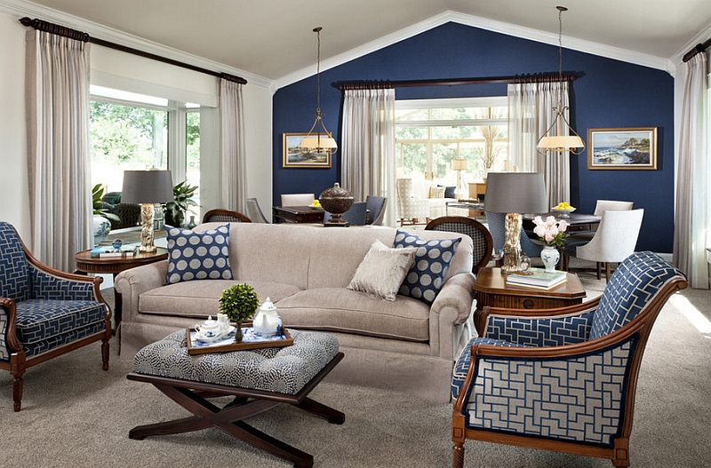 Daring denim-blue accent wall enlivens the place