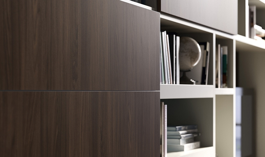 Dark and light wooden tones combines using beautiful sliding doors