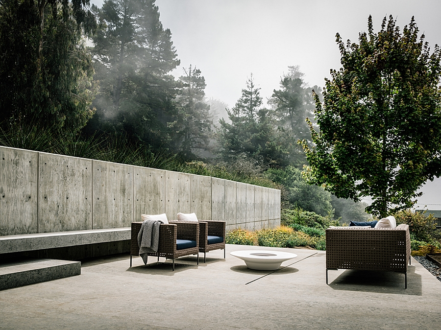 Deck space next to the concrete structure that offers ample privacy