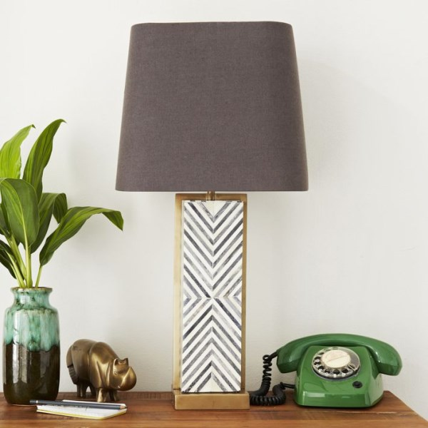 Deco-style chevron table lamp