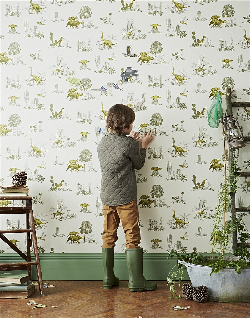 Dinosaur themed magnetic wallpaper for the kids' room