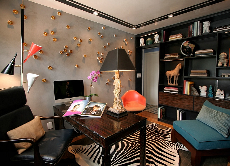 Eclectic and artistic home office in New York