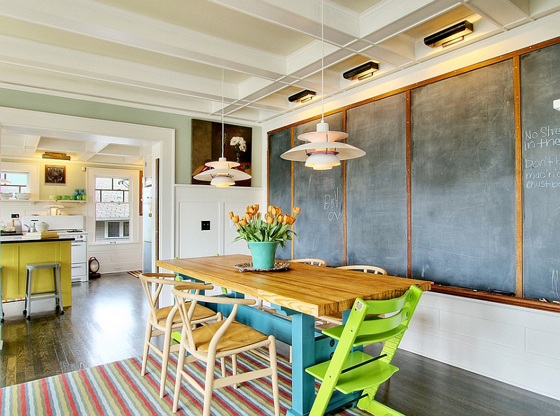 Eclectic dining room looks cheerful and elegant