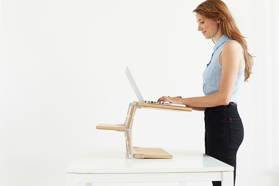 Eco-friendly and versatile desk stand keeps you on your toes!