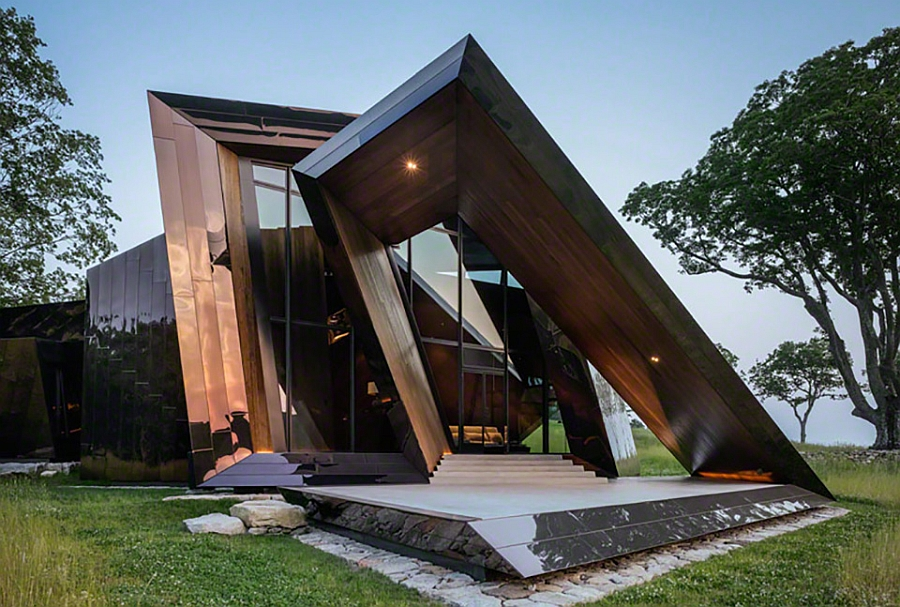 Entrance to the minimal futuristic Daniel Libeskind 18.36.54 House Stunning Sculptural Home Astonishes With Dramatic Design And Angular Features
