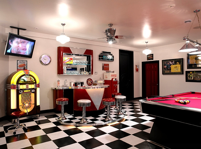 Exclusive 1950's style game room with coke machine, soda bar and a jukebox