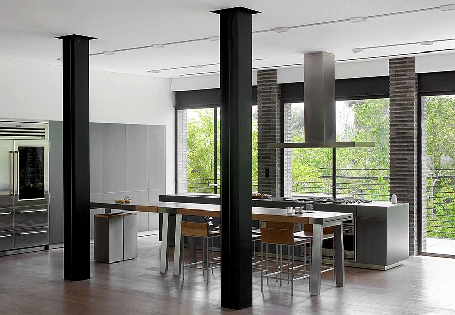View in gallery exposed steel beams in the kitchen