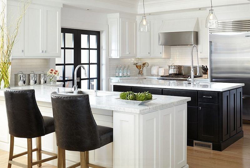 Fabulous and ergonomic black and white kitchen