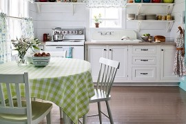 Famhouse style kitchen and dining area in white
