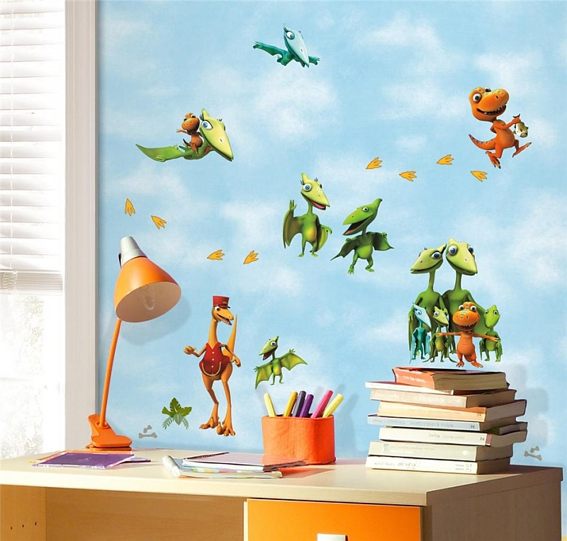 View in gallery fancy and colorful dinosaur wallpaper for the trendy kids bedroom