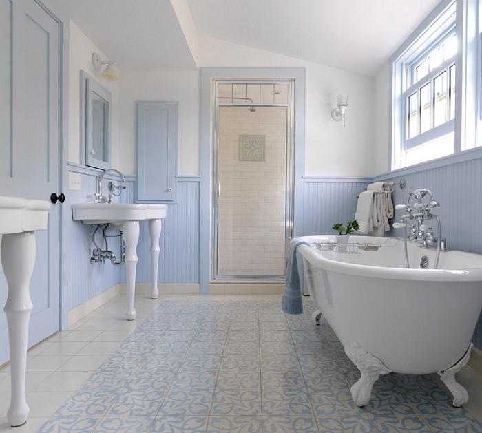 Farmhouse style bathroom uses a gentle shade of blue along with white