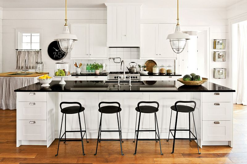 View in gallery Farmhouse style kitchen in black and white