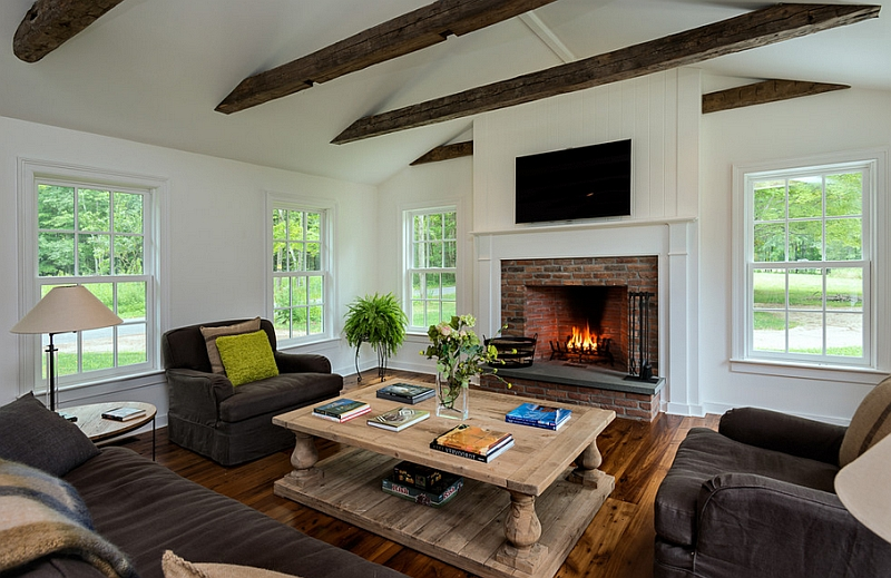Farmhouse style living room with a fireplace
