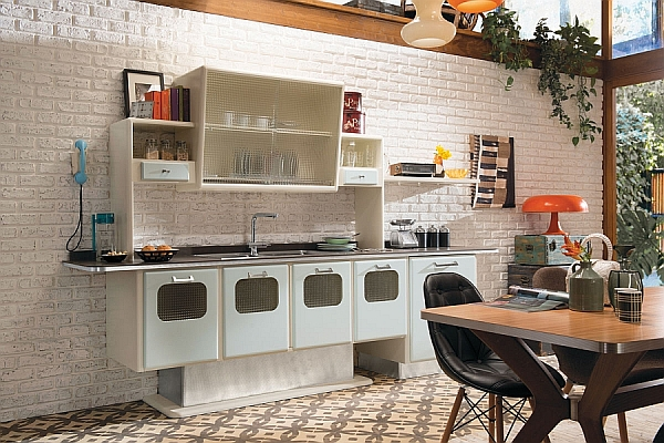 Retro style kitchen cabinets with a metallic finish decoist for 50s style kitchen decor