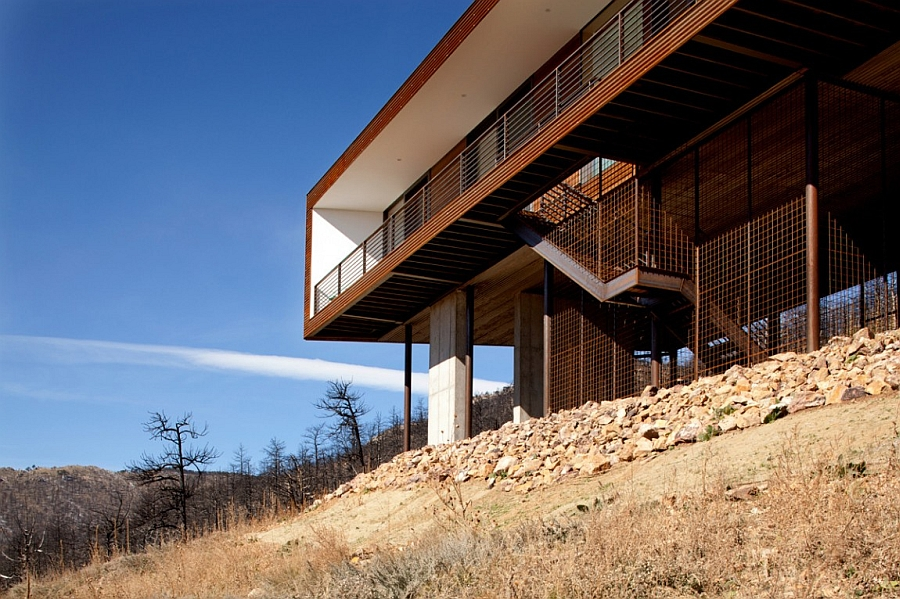 Fire ressitant steel siding of the Fourmile Canyon House