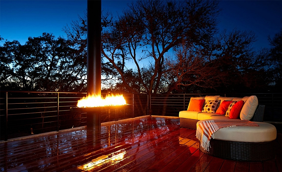 Fireplace and deck space after sunset