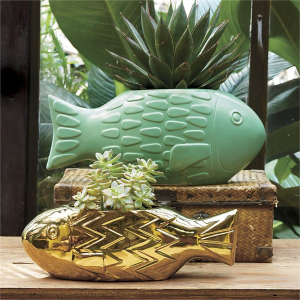 Fish planters create eclectic nautical style