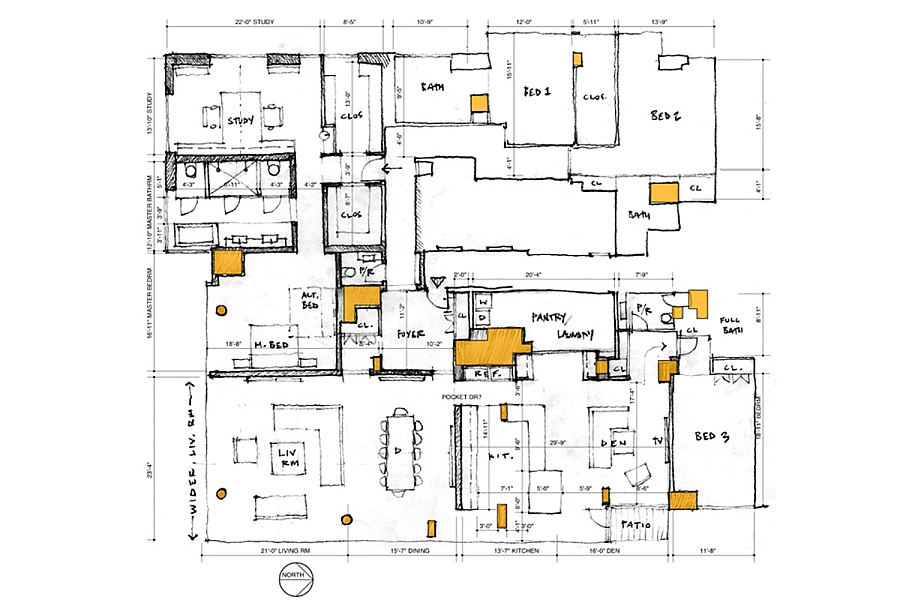 Floor plan of the New York City Penthouse - Sketch