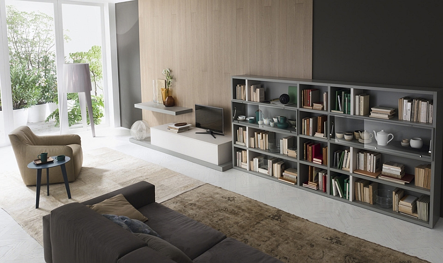 Floor standing living room shelf with an exclusive TV unit and glass shelves