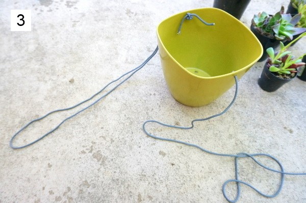 Form loops with the string on either side of the planter