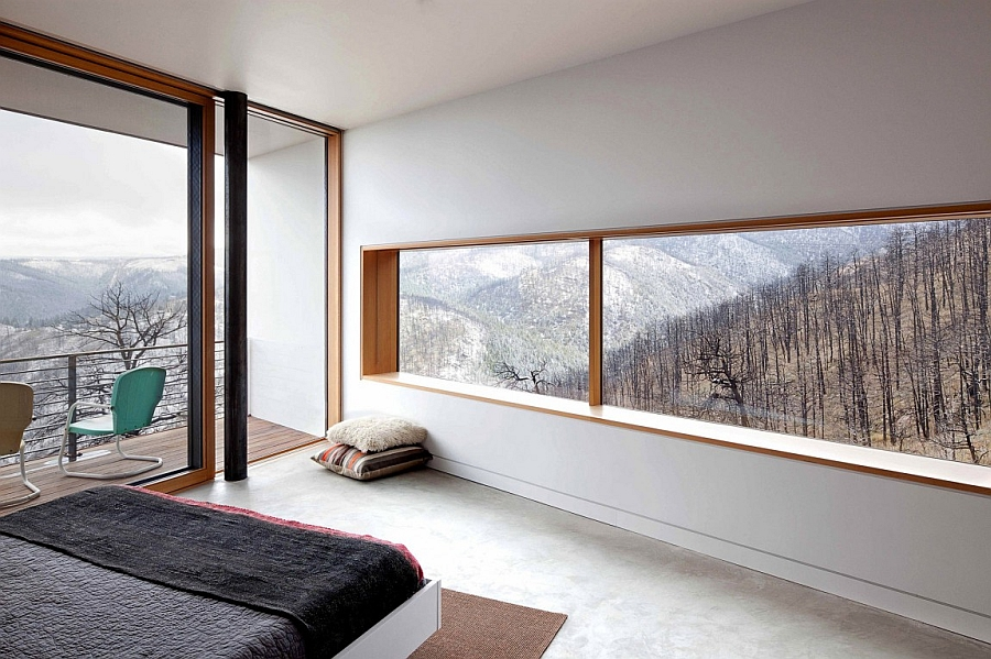 Framed views of the mountain range from the bedroom