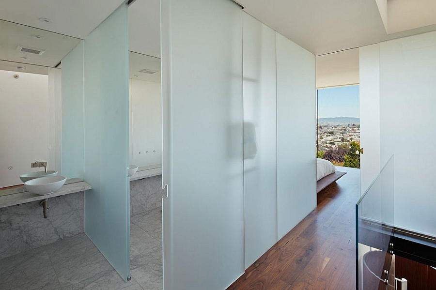 Frosted glass doors for the contemporar bath next to the bedroom
