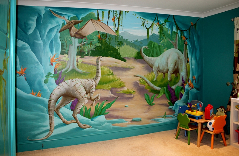 Kids bedrooms with dinosaur themed wall art and murals for Mural kids room