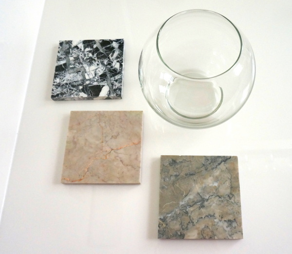 Gather glass globes and marble tiles