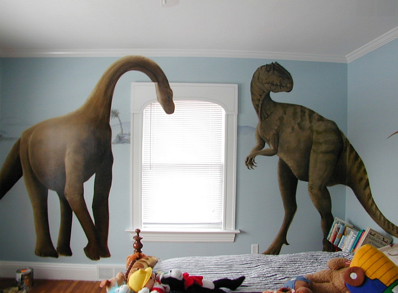 Giant nine foot tall dinosaur decals in the boys' bedroom