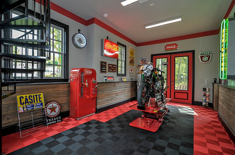 Give your garage a nostalgic makeover with some Coca Cola Decor