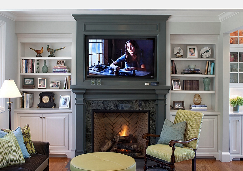 Giving the fireplace Mantel and the TV backdrop a uniform look
